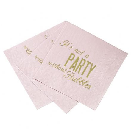 Pink & Gold Cocktail Napkins - pack of 16